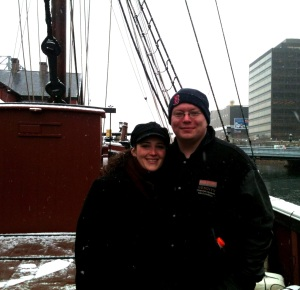PiC and I on a boat this weekend past.  It was his birthday, so we threw tea into Boston harbor.  It seemed legit.