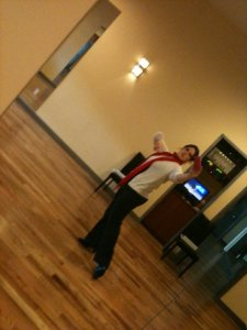 Dancing at the studio while studying for my instructor certification