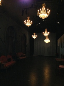 Lovely chandeliers in the theatre where our conference play occurred