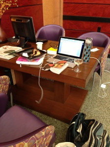 a shot I took of working in the hotel lobby while at CDC... sometimes you gotta do what you gotta do
